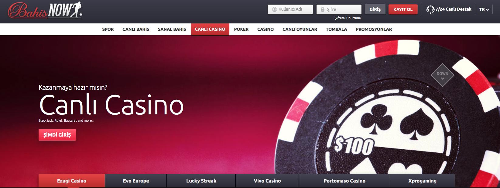 Bahisnow Canlı Casino